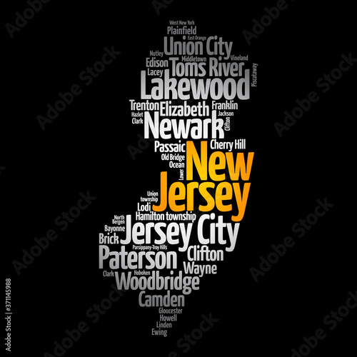 Obraz na plátně List of cities in New Jersey USA state, map silhouette word cloud, map concept b