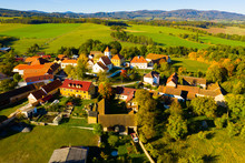 Autumnal Aerial Landscape Of Czech Village Cakov With Church Of Saint Leonard In Autumn Day
