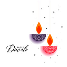 Flat Diwali Background With Decorative Diya Design