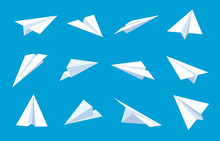 Paper Plane. Flying Planes In Blue Sky, White Paper Airplanes From Different Direction, Message Or Traveling Flat Vector Symbols. Paper Plane In Blue Sky, Sheet Origami Aircraft Illustration