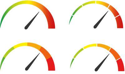 Speedometer, tachometer icon. Colour speedometer set. Scale from red to green performance measurement. Fast speed sign.