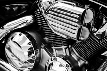 Motorcycle V-configuration Engine With Shiny Chrome Parts Close Up Detail. V-twin Motorbike Chromium Engine. Motorcycle V-type Engine Block In Black And White Vintage Tone