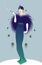 Beautiful And Elegant Lady Smoking A Pipe, Wearing Belle Epoque Style Clothes, Adorned With Peacock Feathers.