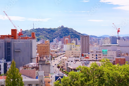 Carta da parati 道後公園展望台から松山城方面を眺める