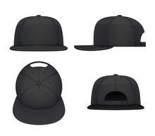 Black Flat Bill Cap