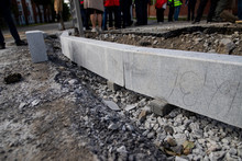 Reconstruction Of The Sidewalk And Replacement Of Old Curbs. Construction Zone