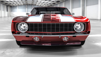 3D realistic illustration. Muscle red car rendering in garage. Vintage classic sport car.