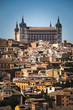 View from the historical centre of Toledo and the famous Alcazar at the top; Spain.