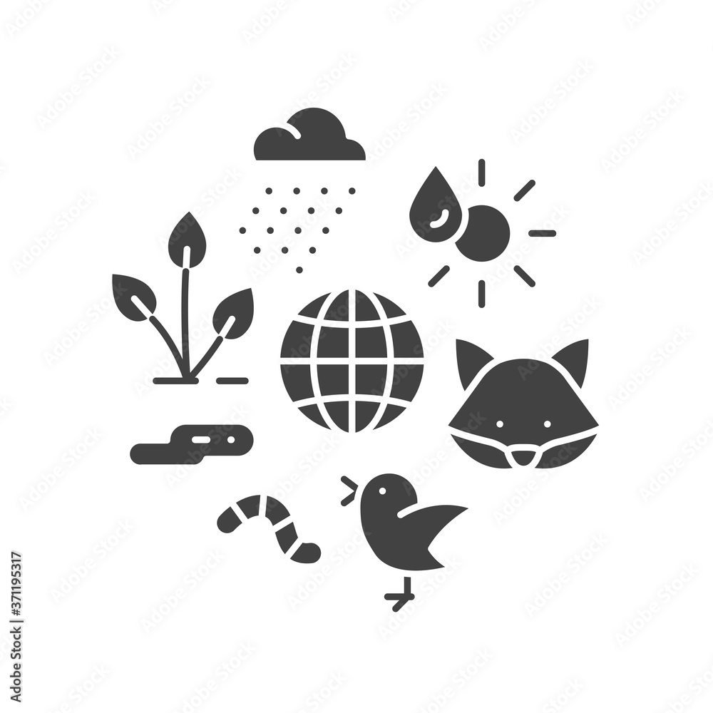 Fototapeta Ecosystem black glyph icon. Sustainable biodiversity and animal friendly environment. Sign for web page, app. UI UX GUI design element