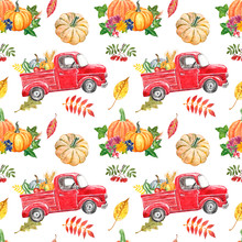 Pumpkin Truck Seamless Pattern. Colorful Autumn Harvest Print. Vintage Red Car With Pumpkins, Flowers And Leaf On White Background. Thanksgiving Day Designer Paper.