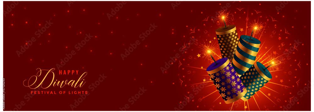 Fototapeta beautiful happy diwali crackers celebration banner design
