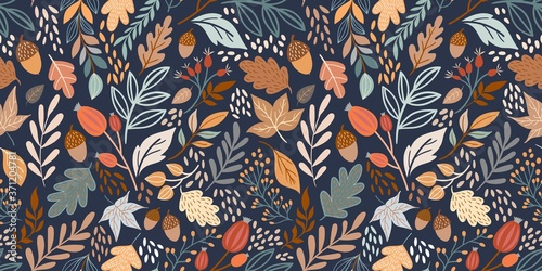 Vászonkép Autumn seamless pattern with different leaves and plants, seasonal colors