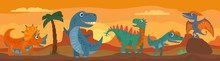 Dinosaurs, Mountains, Palm, Cactus And Sky With Clouds. Vector Flat Illustration
