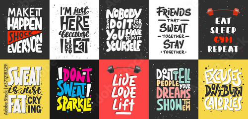 Photo Set of 10 motivational and inspirational lettering posters, decoration, prints, t-shirt design for sport, gym or fitness