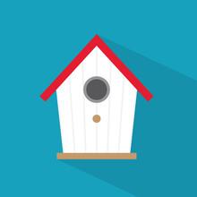Wooden Bird House Icon- Vector...
