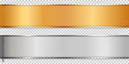 long gold and silver ribbon banner on transparent background Fototapet
