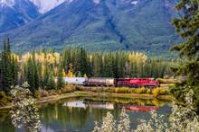 Canadian Pacific Train Passes Over Mule Shoe. Banff National Park, Alberta, Canada