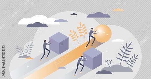 Obraz Efficiency and productivity comparison with advantage tiny persons concept. - fototapety do salonu
