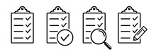 Set Icons Education Test. Clipboard Icon Magnifier And Pencil Vector Illustration