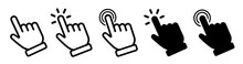 Vector Hand Cursors Icons Click Set