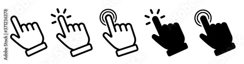 Photographie Vector hand cursors icons click set