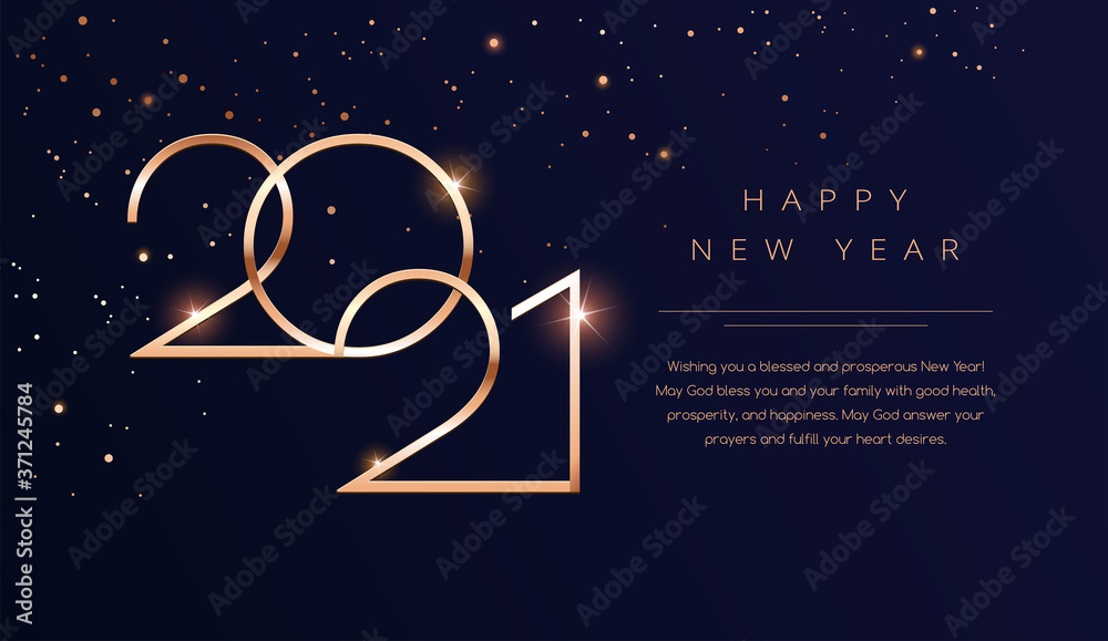 Fototapeta Luxury 2021 Happy New Year background. Golden design for Christmas and New Year 2021 greeting cards with New Year wishes