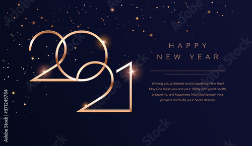 Fototapeta Luxury 2021 Happy New Year background. Golden design for Christmas and New Year 2021 greeting cards with New Year wishes obraz