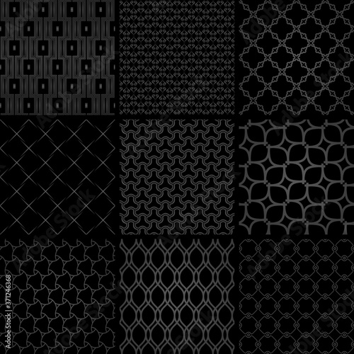 Obraz na płótnie Set of vector seamless geometric dark patterns for your designs and backgrounds