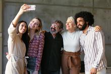 Diverse Business Team Taking Selfie In Office