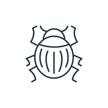 Beetle Icon Vector From Animals Concept. Thin Line Illustration Of Beetle Editable Stroke. Beetle Linear Sign For Use On Web And Mobile Apps, Logo, Print Media..