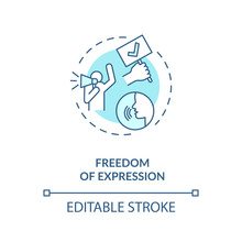 Freedom Of Expression Concept Icon. Freedom Of Speech Idea Thin Line Illustration. First Amendment. Fundamental Human Rights. Vector Isolated Outline RGB Color Drawing. Editable Stroke