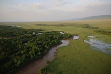 Aerial View Of Masai Mara In Kenya, Africa