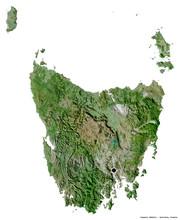 Tasmania, State Of Australia, On White. Satellite