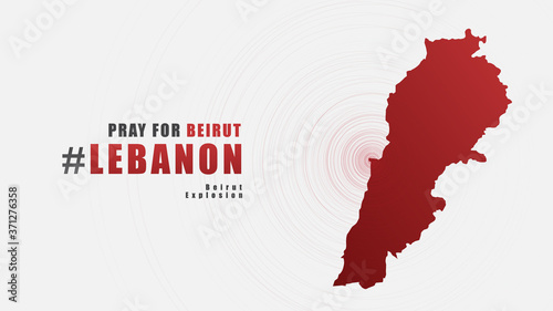 Pray for Beirut Lebanon Message with Map on Gray background; design for Support and help to people; charity; donate after  Beirut explosion; vector illustration Canvas Print