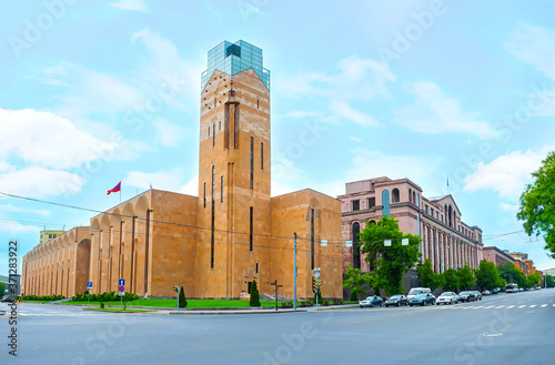 The modern building of Yerevan City Hall with clock tower, Armenia Fototapet
