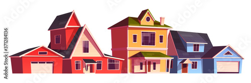 Fotografia Suburb houses, residential cottages, real estate countryside buildings