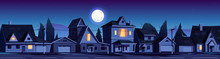 Street In Suburb District With Residential Houses At Night. Vector Cartoon Landscape With Suburban Cottages, Moon And Stars In Dark Sky. City Neighborhood With Real Estate Property