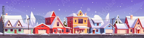 Canvas-taulu Street in suburb district with residential houses and snowfall