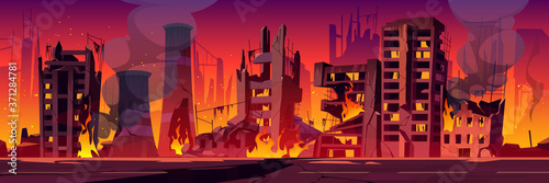 Foto City in fire, war destroy, abandoned burning broken buildings with smoke and flame
