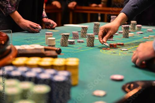 Gambling or casino background concept. Casino roulette wheel wit Fototapet