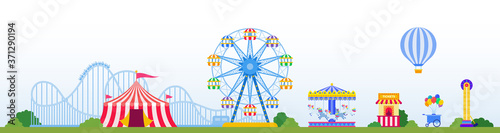 Amusement park with attractions, carousels, circus tent vector illustration in f Canvas Print