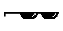 Cool Pixel Sunglasses From The Thug Life Meme. Object For A Joke. Isolated On A White Background.