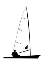 Silhouette Of A Sailor On His Sailboat