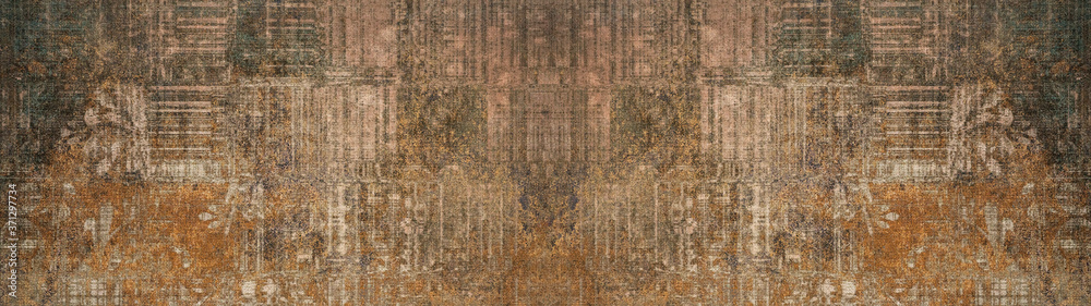 Fototapeta Old brown gray rusty vintage shabby patchwork motif tiles stone concrete cement wall texture background banner