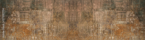 Fototapeta Old brown gray rusty vintage shabby patchwork motif tiles stone concrete cement wall texture background banner obraz