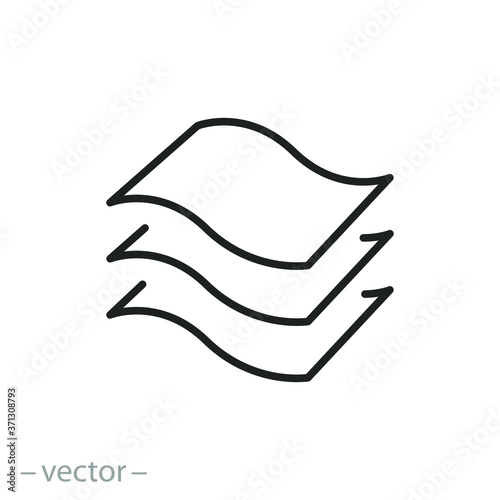 Photo 3 layers icon, structure material fabric, texture properties, thin line symbol o