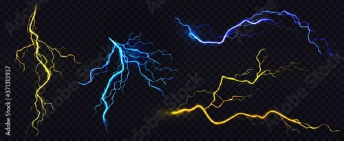 Foto Vector realistic blue and yellow lightning bolts png illustrator