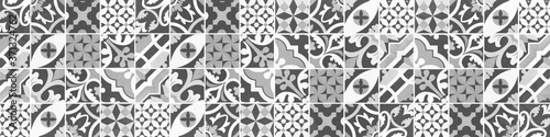 Obraz na plátně Gray grey anthracite white abstract vintage retro geometric square mosaic motif