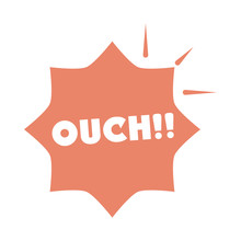 Slang Bubbles Ouch Lettering Over White Background, Flat Icon Design