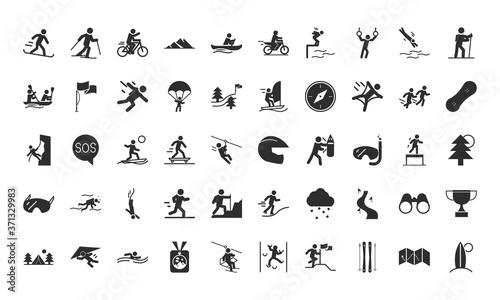 Leinwand Poster extreme sport active lifestyle silhouette icons set design